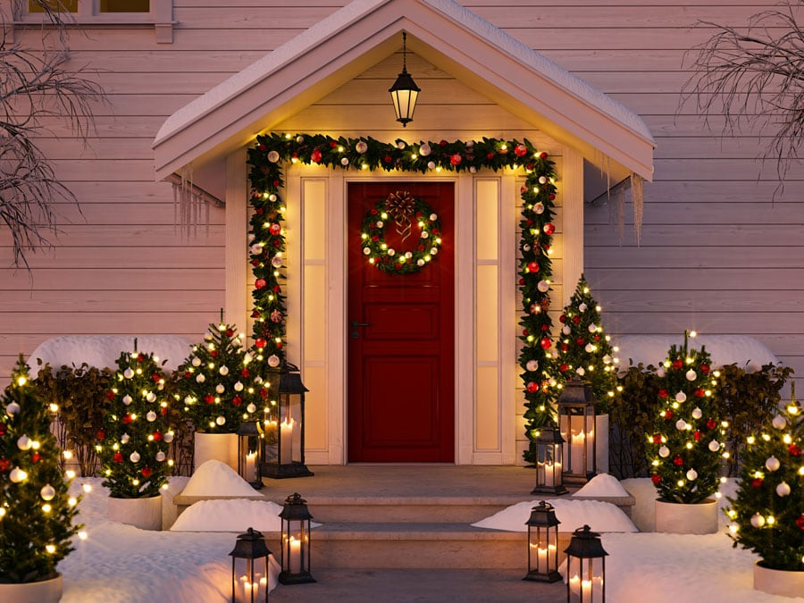 Christmas Topiary Decor.16 Outdoor Christmas Light Wreath Topiary Decoration
